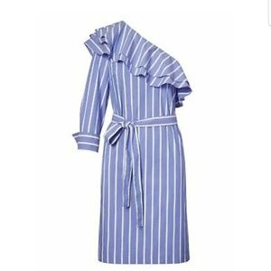Blue Striped One-Shoulder Ruffled Shirtdress Dress